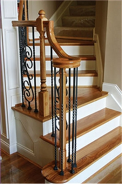 Metal Newels, Custom Stairs, Wood Metal Risers, Treads, Ballusters